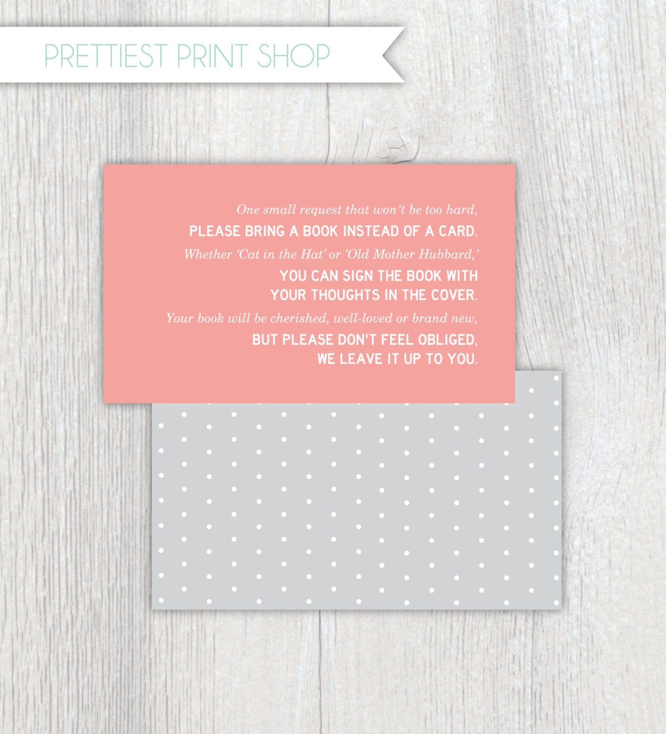 Printable invitation enclosure Baby Shower Polkadot