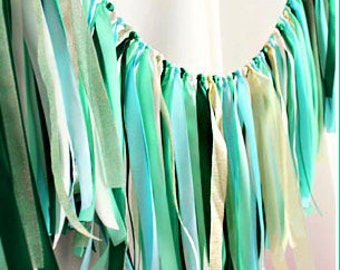 Mixed of Willow Green Party Banner, Decoration, Wedding Garland, Banner, Ribbon, Fabric Garland, Decoration, Bridal Shower, Baby Shower