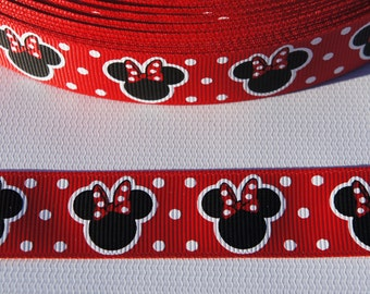 """3 yards Minnie Mouse Grosgrain Printed Ribbon 7/8"""" Red Minnie Mouse ribbon hair bow ribbon crafts supplies"""