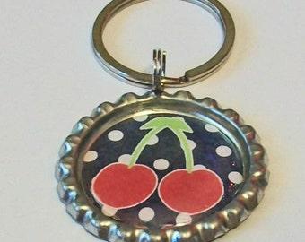 Cute Cheery Cherries on Polka Dots Metal Flattened Bottlecap Keychain