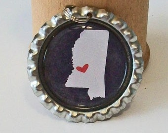 State Love Mississippi Silhouette All 50 States Available Flattened Bottlecap Pendant Necklace