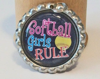 Softball Girls Rule Flattened Bottlecap Pendant Necklace