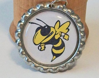 Fun Georgia Tech Yellow Jackets Inspired Flattened Bottlecap Pendant Necklace