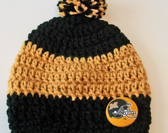 Mizzou Missouri Tigers Inspired Black and Gold Crocheted Baby and Childrens Pom Pom Hat Great Photo Prop 5 Sizes Available