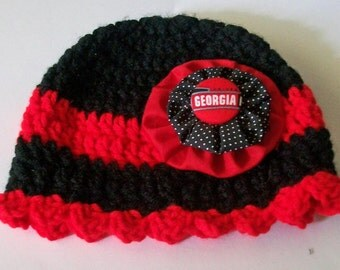 Georgia Bulldogs Inspired Red and Black Hand Crocheted Baby and Childrens Scalloped Edge Hat Great Photo Prop 5 Sizes Available