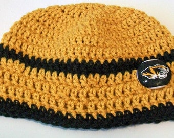 Mizzou Missouri Tigers Inspired Black and Gold  Hand Crocheted Baby and Childrens Beanie Hat Great Photo Prop 5 Sizes Available
