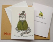 """Greetings Card - Printed from my artwork """"Heaven Knows I'm Miserable Meow"""" Morrissey Cat"""