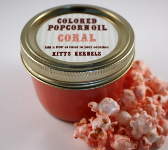 Colored Party Popcorn Oil/ Coral By KittsKernels On Etsy