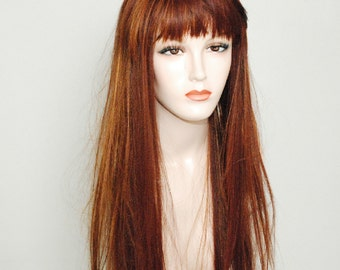 Coppertone auburn mixed with flame auburn/ long silky straight wig