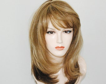 Honey blonde mixed with light blonde and light brown/ layered wig/ human hair touch