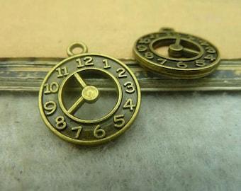 10pcs 18x20mm Antique Bronze Clock Charms Pendants