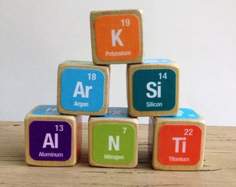 Periodic Table of Elements Childrens Blocks // Natural Wood Toy