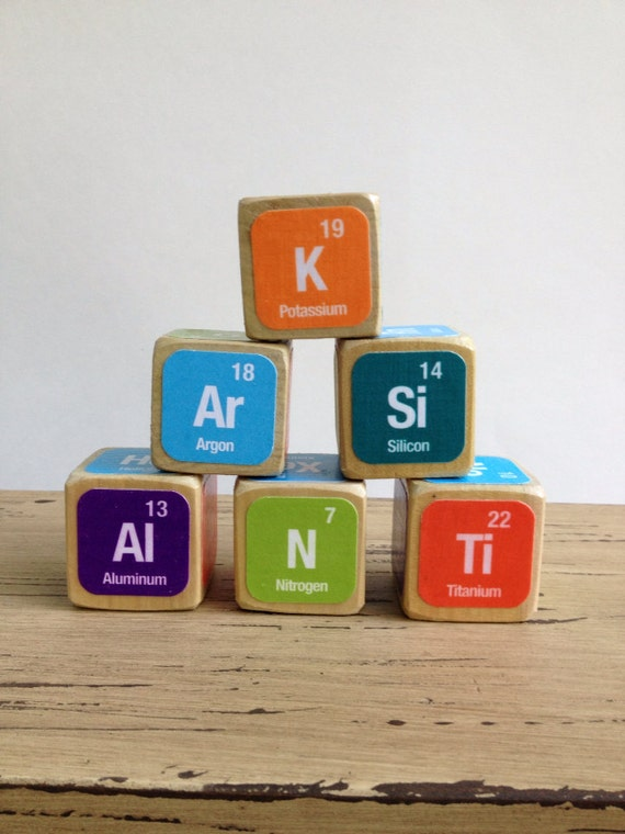 Periodic table of elements childrens blocks natural wood like this item urtaz Choice Image