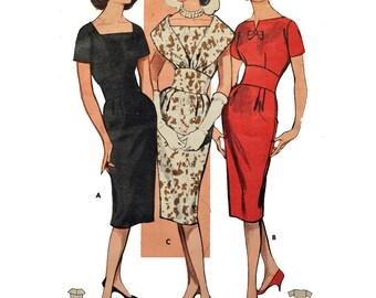 Vintage 50s Dress Pattern / Fitted Sheath Wiggle Dress Pattern / 3 Neckline Variations / UNCUT Butterick 9298 Size 12