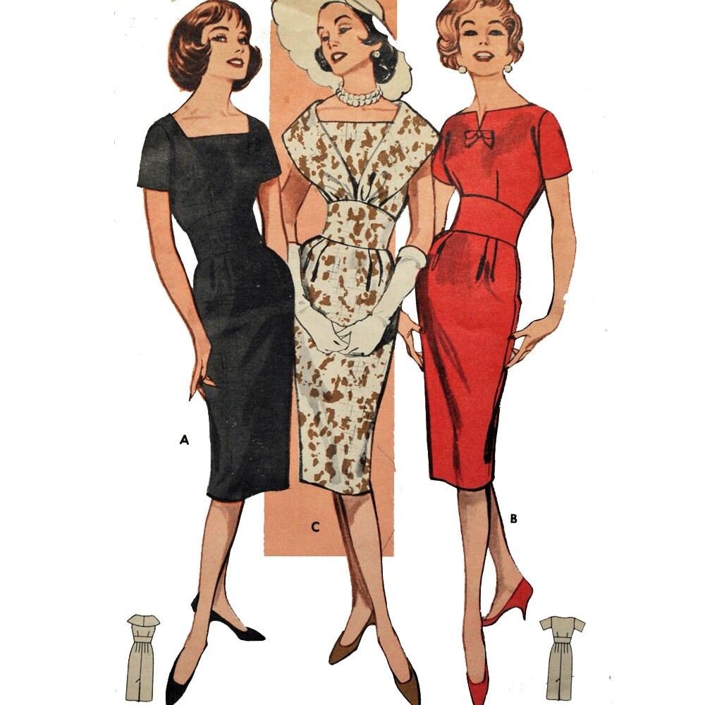 Vintage 50s Dress Pattern Fitted Sheath Wiggle Dress Pattern