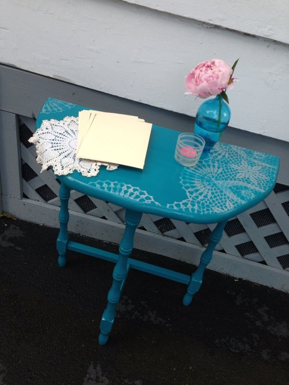 Turquoise Half Round Accent Table With Silver By