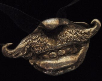 BIZARRE CHOKER PIECE- .999 Silver handlebar moustache and  mouth - a curio to wear or display - a bauble, treasure, and a conversation piece