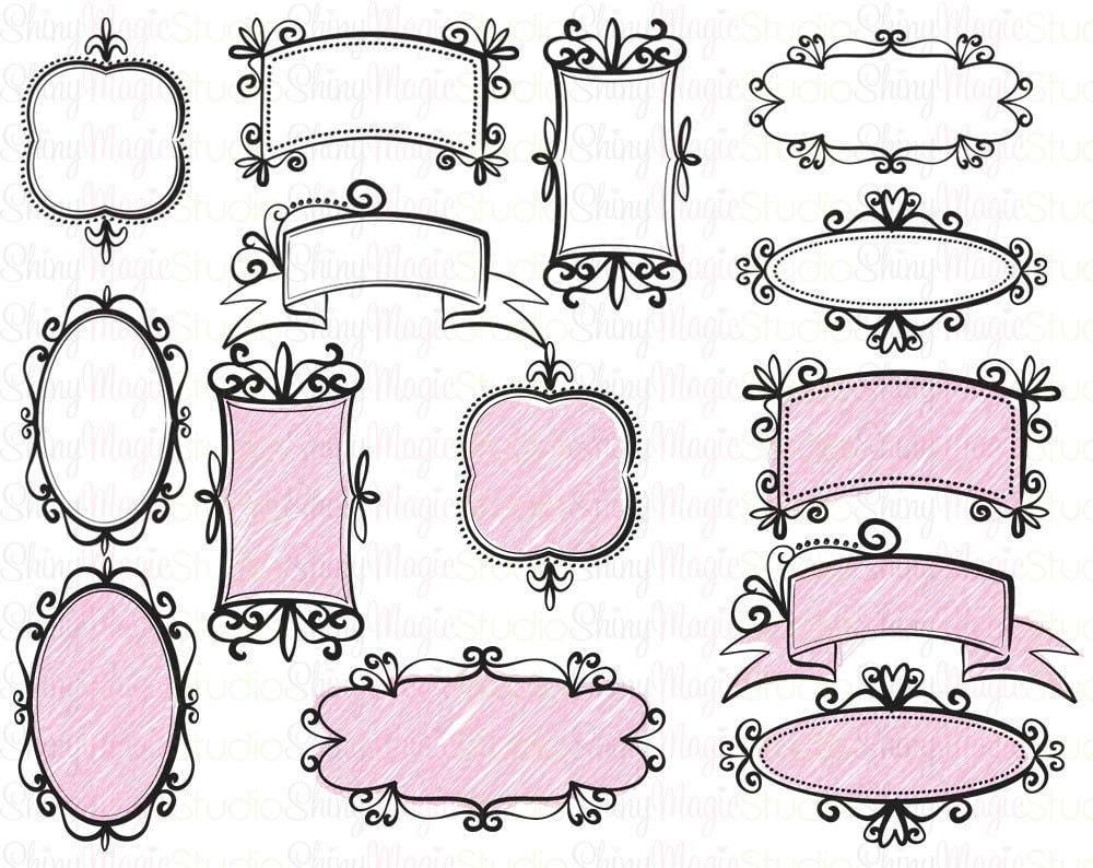 Items similar to INSTANT DOWNLOAD - Digital Doodle Frames ...