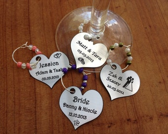 Wedding Wine Charms personalised birthday favors party's