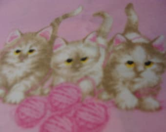 Golden Baby Kitties on  Pink Cotton Quilting Fabric BTY