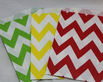 12 Super Mario brothers birthday party goodie favor paper bags chevron polka dotted green red yellow