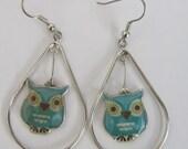 Turquoise Owl Large Teardrop Earrings