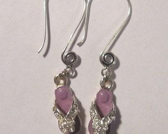 Purple Flip Flop Swirl Ear Wire Earrings