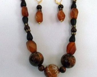 Natural Carnelian Red Tiger's Eye Black Onyx and Fire Agate Necklace and Earrings Set One of a Kind