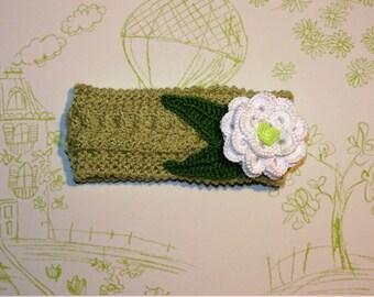 Soft Knit Baby Headband, Baby Knit Headband, Flower Headband size 0-3 months, ready to ship