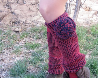 Red and black sweater leg warmers with flower decal