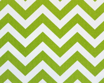 SALE - Premier Prints Zig Zag Chartreuse Fabric - Chartreuse Green and White Chevron Stripe Fabric - Fabric by the 1/2 yard