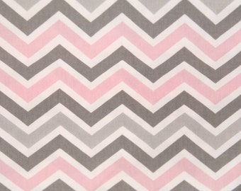 Ships Same Day Premier Prints Zoom Zoom Twill Bella Pink Fabric - Pink, White, and Grey Chevron Fabric -  Fabric by the yard