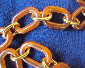 Awesome amber plastic and gold tone chain belt