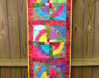 Contemporary Broken Circles Wall Hanging in Pinks, Blues, Yellow and Green