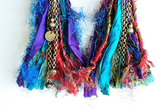 sari silk earrings tribal gypsy boho