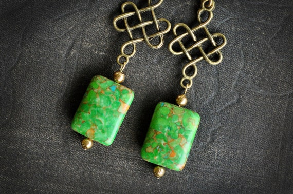 brass Chinese knot and green aqua terra earrings