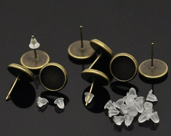 30 Antique Bronze Earring Post - 15 Pairs -Cabochon Settings - rubber backs - fits 10mm cabochon - earring studs diy jewelry