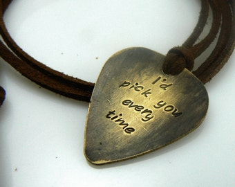 Guitar Pick Necklace, I'd pick you every time, Hand Stamped Necklace, Boyfriend Girlfriend Jewelry, Valentines Gift