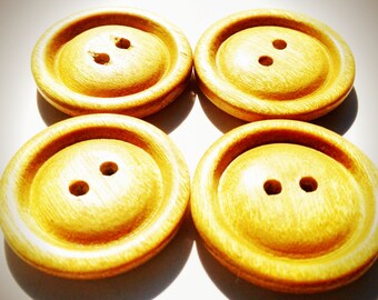 Wooden buttons, Handmade, Satin wood,  1 1/4 diameter.