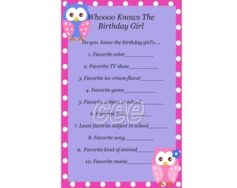 Owl Birthday Game, Owl Party Game F or Girl, Owl Birthday Party Game ...