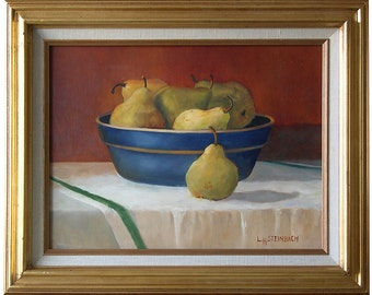 Fruit Art Kitchen Decor - Pears in a Blue Bowl - Oil Painting