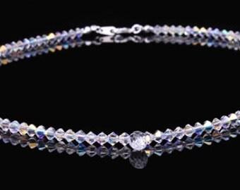 Swarovski Crystal Clear Ab Teardrop Necklace Sterling silver