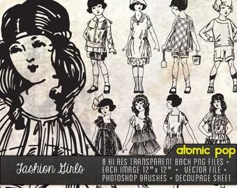 Vintage Fashion Girls Line Drawings // Digital File Photoshop Brushes // Decoupage Collage Sheets // Adobe Illustrator Vector File