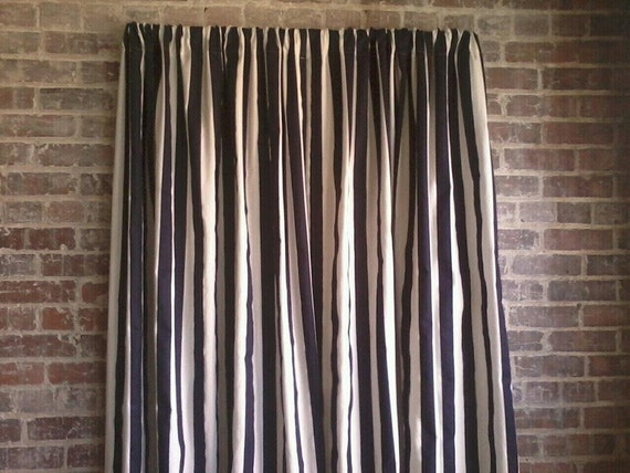 "Black and White Canopy Stripe Curtains Two Curtain Panels 52"" wide by ..."