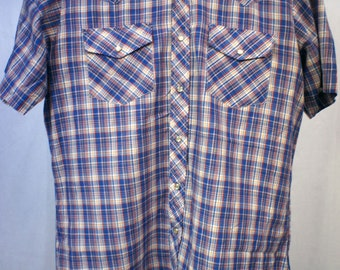 PLAID WESTERN SHIRT-Short Sleeve Shirt Vintage Red White and  Blue Plaid - Snap Tab Pockets Western Yolk