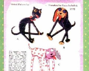 Cleo the Cat & Harry the Hound  Pattern 1772 - PHOTOCOPY