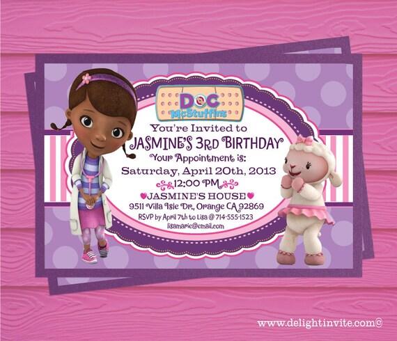 Doc McStuffins Birthday Invitation and Custom by DelightInvite