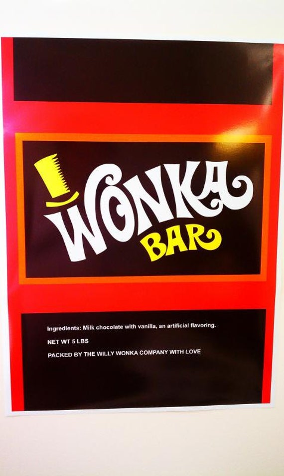 ... Willy Wonka Bar Wrapper & golden ticket - can be used as a poster too