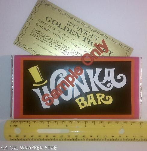 4 4 Oz Sized Willy Wonka Chocolate Bar Wrapper Amp Golden