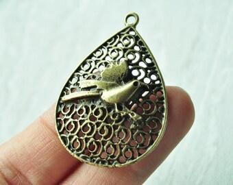 5pcs Antique Bronze Large Water Drop Charms Bird Charms 45x31mm K667